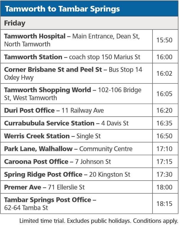 Tambar Springs to Tamworth Timetable
