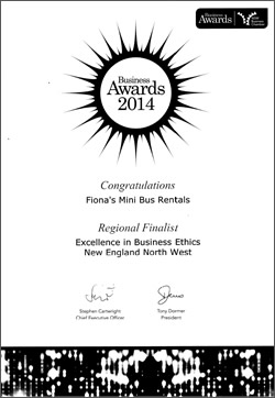 Regional Finalist - Excellence in Business Ethics - New England North West